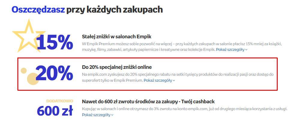 Reklama Empik Premium z obietnicą stałej, dwudziestoprocentowej zniżki na wszystkie produkty